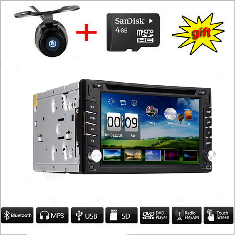 Universal Double 2 din Car Radio Car DVD Player GPS Navigation In dash Car Bluetooth Stereo video headunit with Free Rear Camera(China (Mainland))