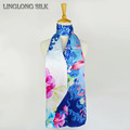 100 Silk Satin Long Scarf 55cmX175cm Pure Silk Scarf Women Shawls New Desigual Women Scarves Moden