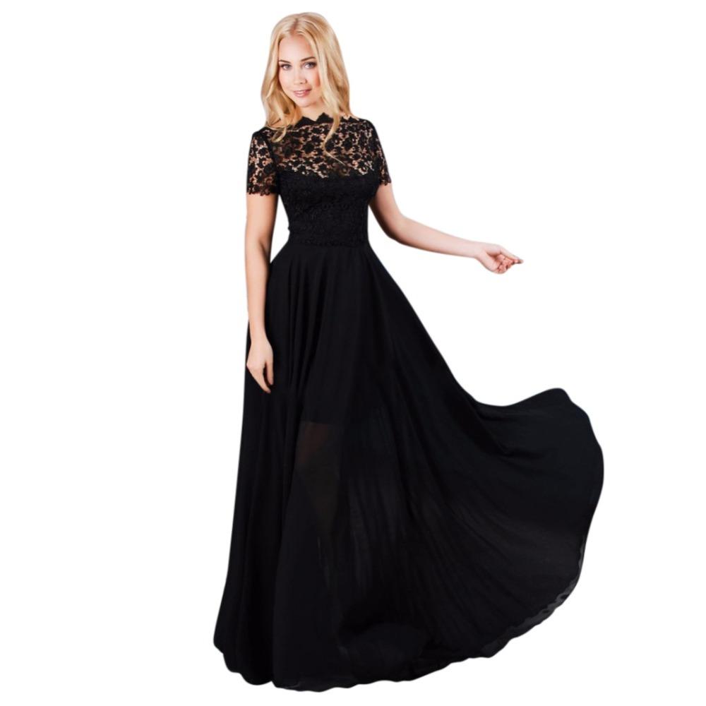 Big Discount MSANI 2016 Women Elegant Casual Lace Sleeve Plus Size Black Ladies Maxi Long Night Party Dress(China (Mainland))