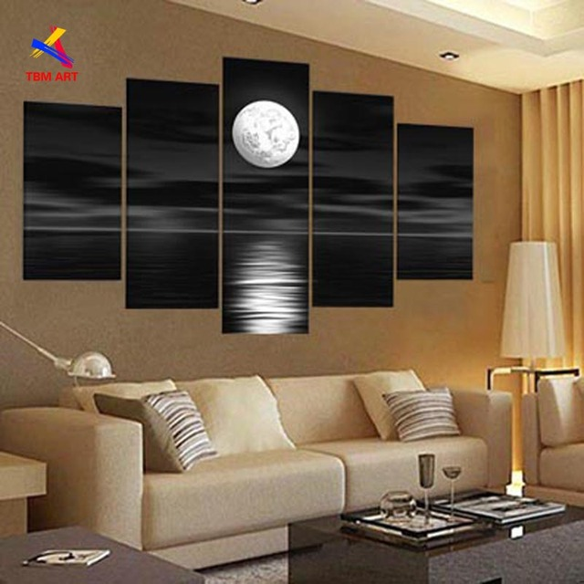 Black and White Color Moon Picture Wall Art Hand painted Modern Abstract Oil Painting on Canvas Gift No Frame JYJHS001