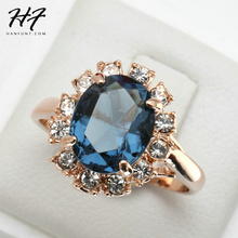 Blue Stone Emerald Ring Bague 18K Rose Gold Plated Crystal Fashion Imitation Gemstone Anniversary Jewelry For Women anel R189(China (Mainland))