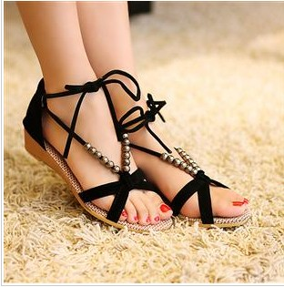 Bandage beaded young girl shoes bow scrub velvet small wedges sweet low-heeled sandals - Fashion Women's boots store