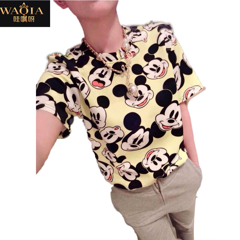 2014 new fashion  women clothing t shirt casual girl shits  summer shirt Mouse print  casual  T-shirtОдежда и ак�е��уары<br><br><br>Aliexpress