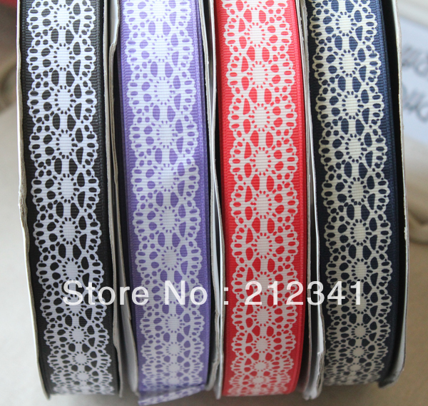 1 inch 25mm grosgrain ribbon printed lace 40 yards Mixed 4 colors - Smile Angel store