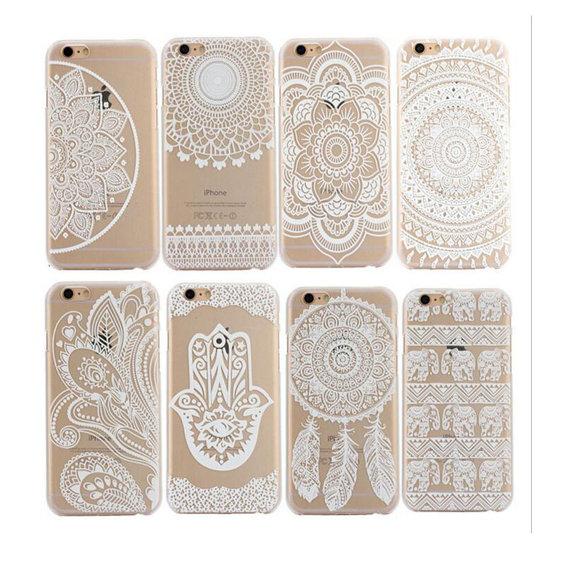 2015 New Luxury PC Clear Vintage White Paisley Flower Hard Housing Back Phone Cover Case iPhone 5 5S 6 6S Plus - Get it Happy store