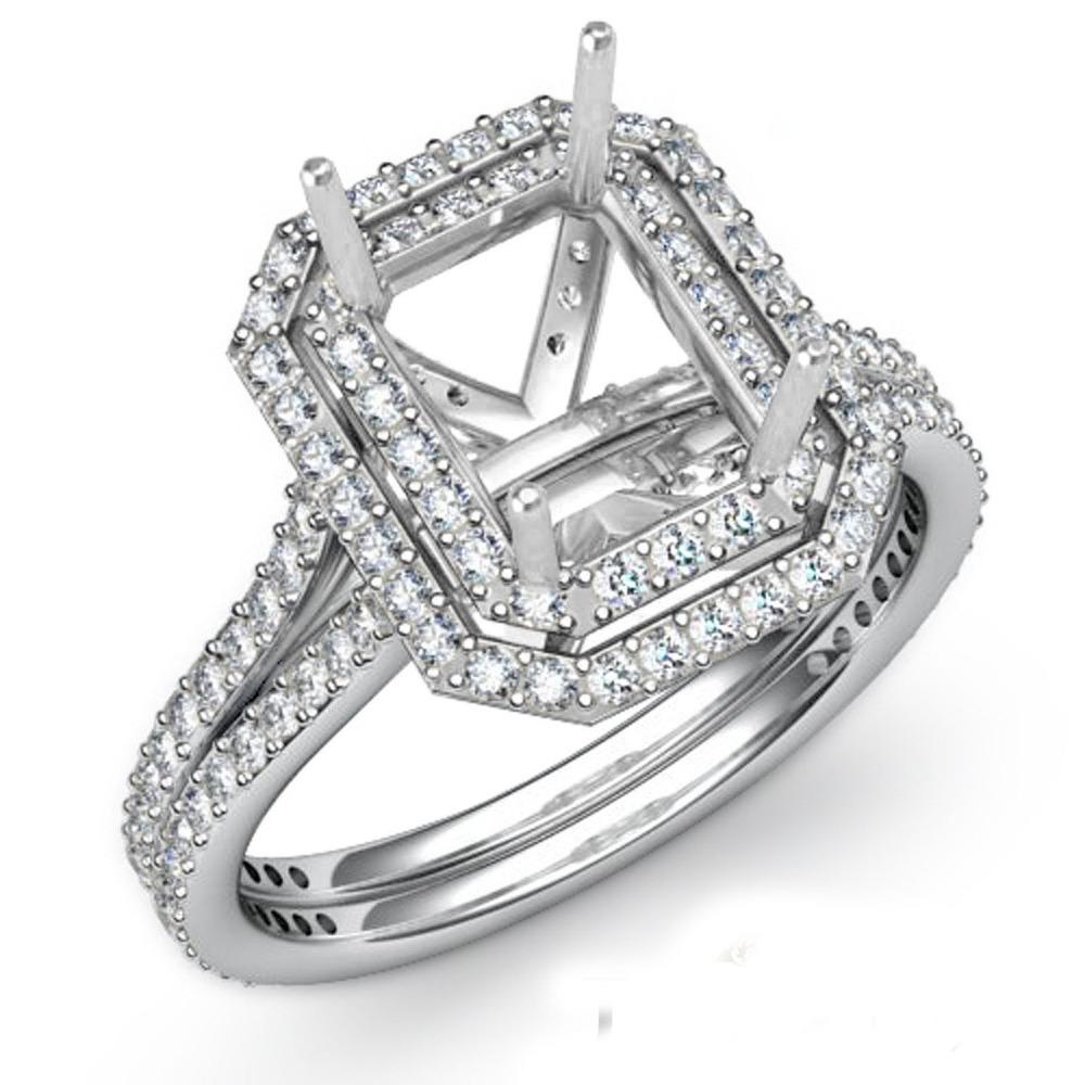 Halo Setting Diamond Engagement Emerald Cut Semi Mount Ring 14K WHITE GOLD 0