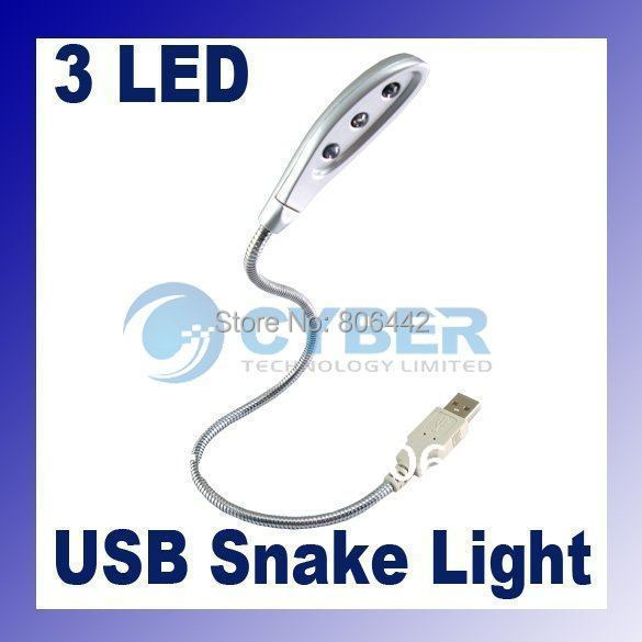 NEW Mini 3 LED Super Bright Snake Flexible USB Light Lamp Durable for Notebook/ PC/ Laptop