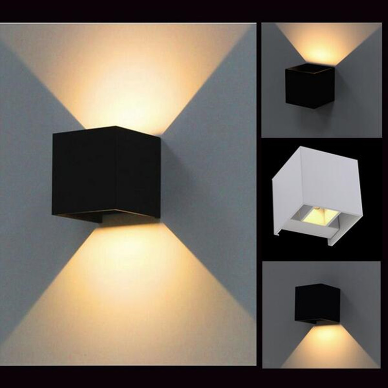 Contemporary Outside Wall Lamps : LED Outdoor Wall Sconce 8W Led Wall Lamps Waterproof Modern Led Wall Light Warm White 2pcs COB ...