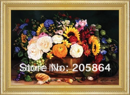 FREE SHIPPING big size 60x120cm art fabric pictures,A basket of bouquet gobelin tapestries for furniture,decoration pictures