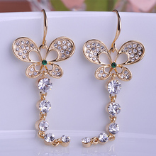 Kawaii Cute Butterfly Austrian Crystal Wedding Earrings For Gothic Women Colar Feminino Long Earings Best Brincos Bijuterias Vaz