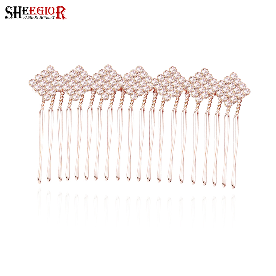 Crystal rhinestone bridal wedding hair accessories for women hair combs lovely Hairpin rose gold heart bow geometry hair jewelry(China (Mainland))