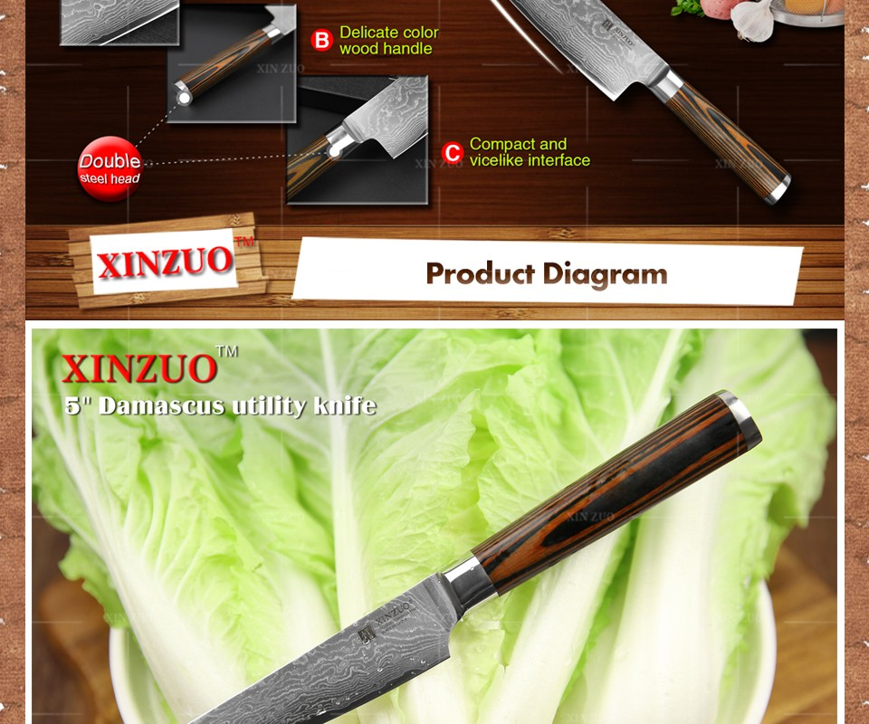 Buy XINZUO 3 pcs Kitchen knives set Damascus kitchen knife Japanese sharp chef paring knife wood handle kitchen tool free shipping cheap