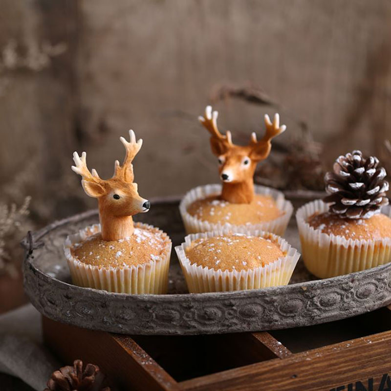 christmas deer shaped handmade silicone molds for cake decoration ,eco friendly silicon soap and jelly molds(China (Mainland))