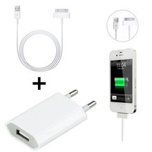 genuine Original ac wall charger + 30pin USB Data Charger charging Cable for iPhone 3GS 4 4S 4G nano touch(China (Mainland))