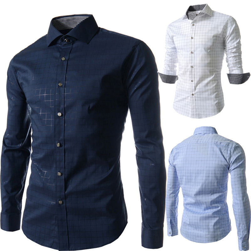 2015 new fashion grid/plaid print mens dress shirts long sleeve casual hombre blusas social slim fit camisas masculina  -  DT boutique store