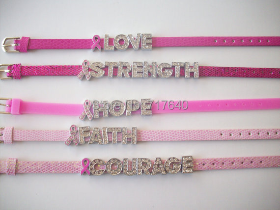 2014 New Breast Cancer Awareness Charm Bracelet, Free Shipping Via Express! Y-0415(China (Mainland))