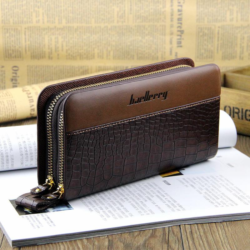 New bags!!!Crocodile pattern mens wallets double zipper design long wallet mobile phone male bag cowhide clutch man bag(China (Mainland))