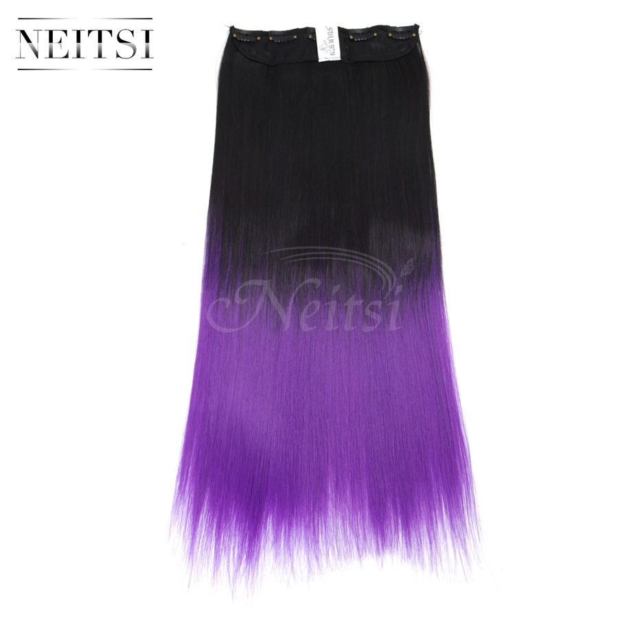 """Neitsi 22"""" 5 Clips Purple Two Tone Ombre Synthetic Clip In On Hair Extensions Straight Braiding Clip Ins Hair For Beauty Woman(China (Mainland))"""