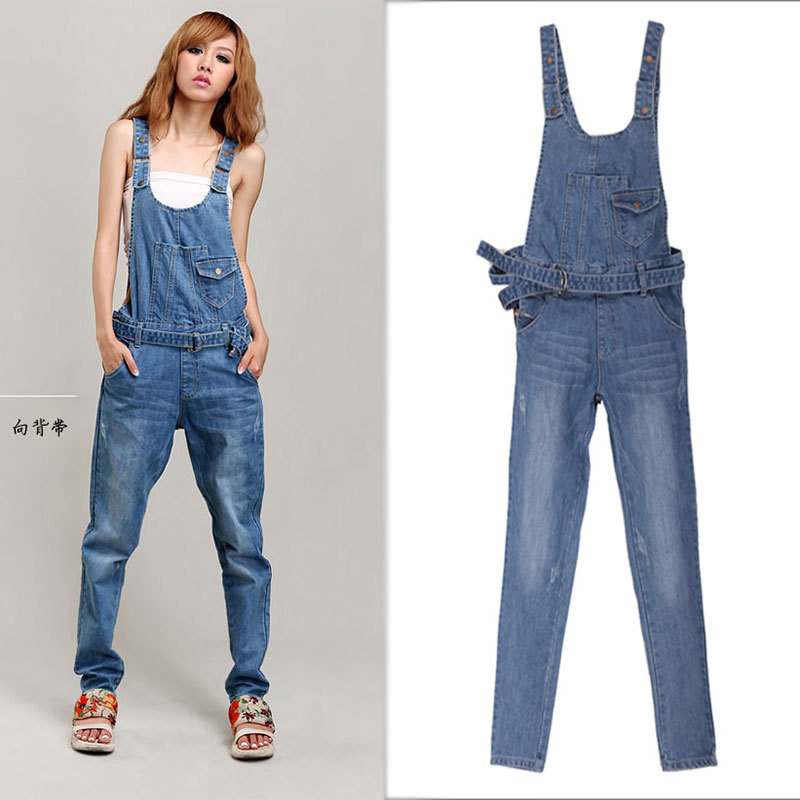 Images of Womens Denim Romper - Reikian