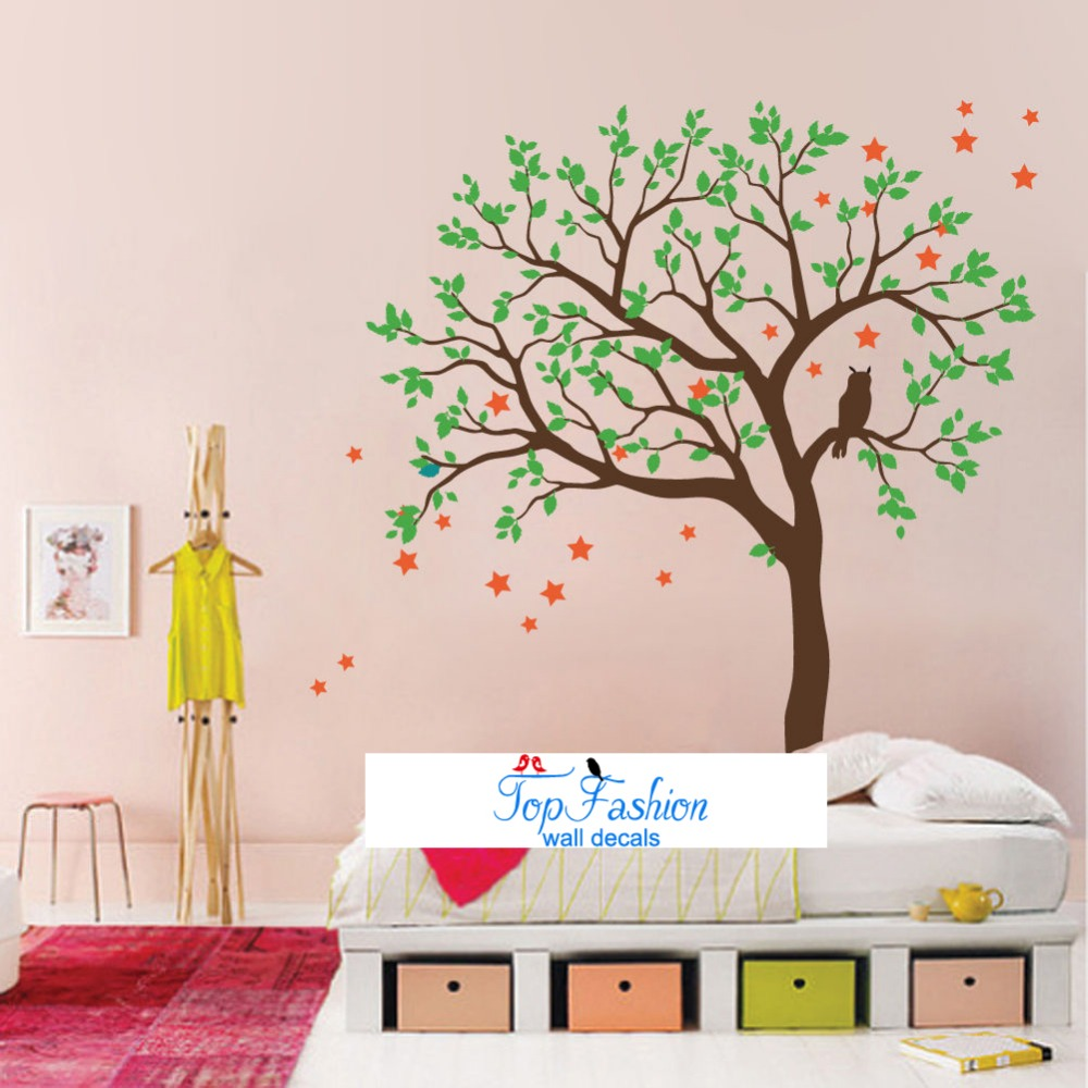2 sizes owl hoot star tree wall stickers vinyl decal kids nursery wall decals baby garden tree wall decal for boys and