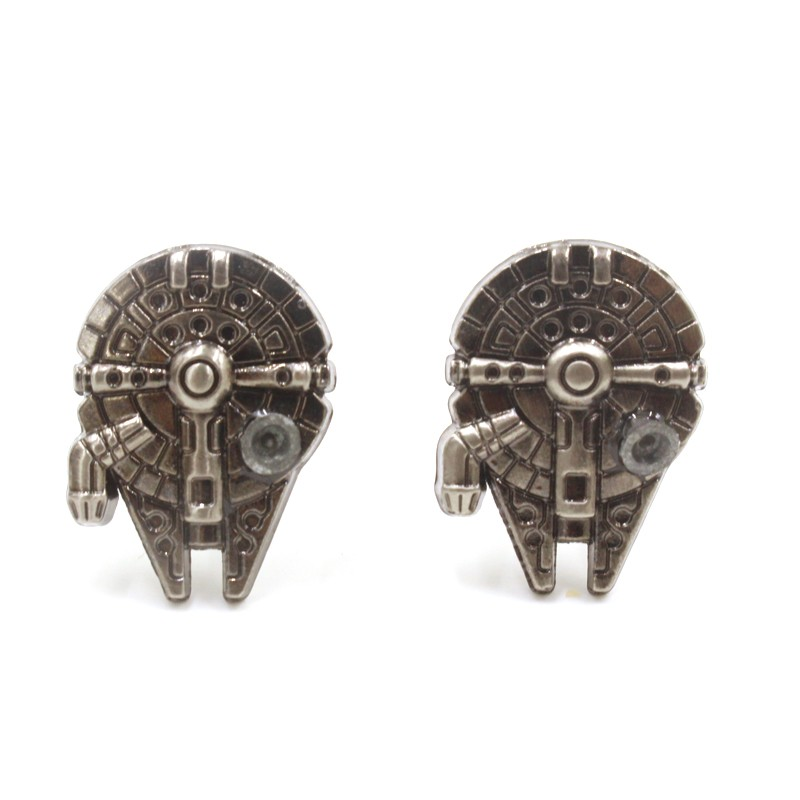 Free Shipping Movie Star Wars Millennium Falcon Palladium Cool Spacecraft Cufflinks Individuality Jewelry(China (Mainland))