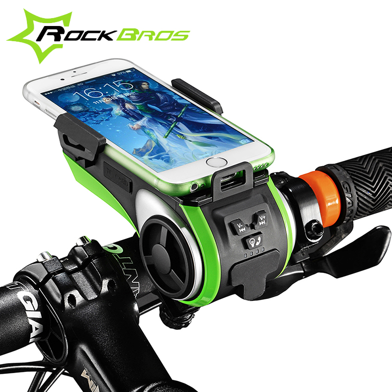 ROCKBROS Waterproof Bicycle Phone Holder Bluetooth Audio MP3 Player Speaker 4400mAh Power Bank +Bicycle Ring Bell +Bike Light<br><br>Aliexpress