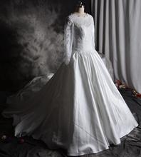 Real Photo Ball Gown Wedding Dresses Gowns Swetheart long Sleeve Silk Satin Wedding Dress Chapel Train robe de mariage(China (Mainland))
