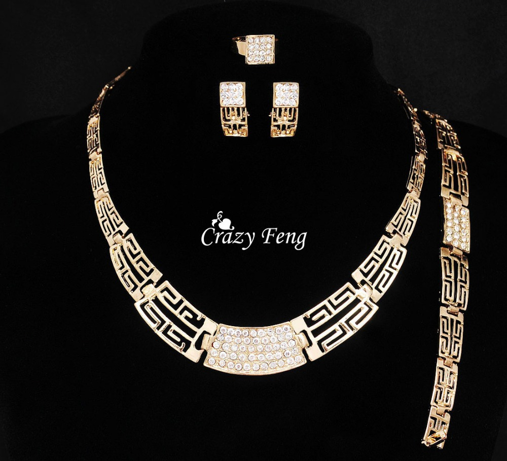 Free Shipping New Fashion 4Pcs Costume Jewellery Sets Women Wedding 18K Gold Plated African Jewelry Set with Austrian Crystal(China (Mainland))