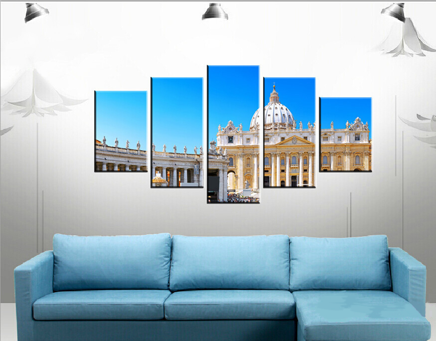 Hot 5 pieces canvas wall art picture painting decoration home canvas Prints The world famous church buildings(China (Mainland))