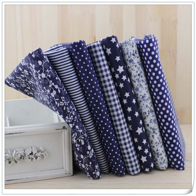 7Pcs/Lot,Dark Blue/Navy 100% Cotton Plain Printed Quilted Fabrics Sets,Patchwork,Fabrics for Sewing,Tissue,Cloth,Tilda,50x50cm(China (Mainland))
