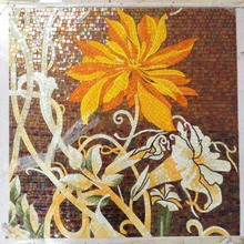 Factory sale Flowers Glass Mosaic Cutting backsplash Mosaic Tile Wall Mural orange color sunflower mural