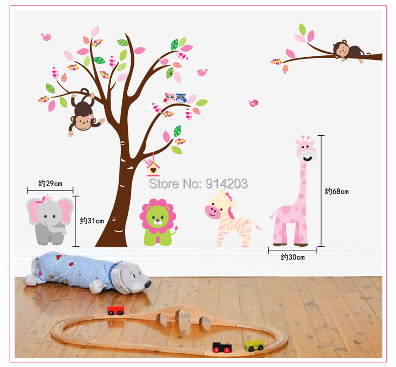 Cartoon Animals Kidding on the Tree Removable Art Vinyl Mural Home Accessories Wall Sticker for Children Room(China (Mainland))