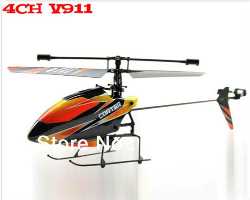 Hot Selling--4 Channel 2.4GHz Micro RC Helicopter Gyro V911 RTF+ 2 PCS Batteries, Charger, 4 CH RC Radio.(Hong Kong)