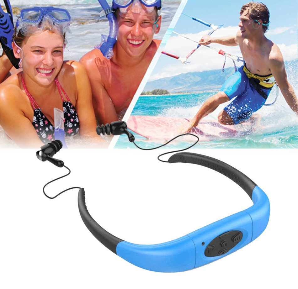 HOT IPX8 Waterproof 4GB Underwater Sport MP3 Music Player Neckband Stereo Earphone Audio Headset with FM for Diving Swimming