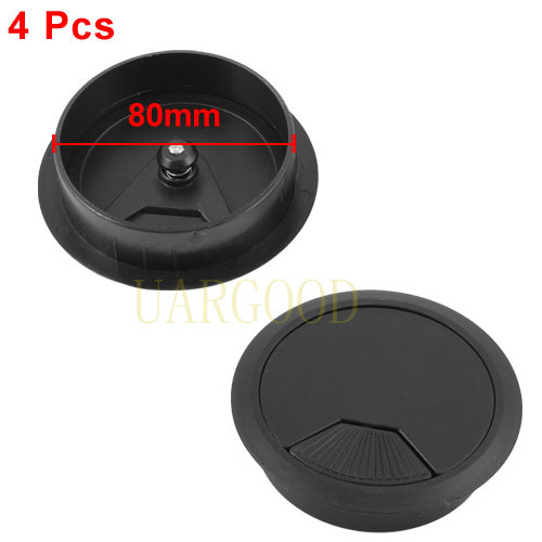 computer desk plastic grommet wire hole cap cable cover 80mm black 4 p in office desks from. Black Bedroom Furniture Sets. Home Design Ideas