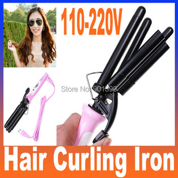 Hot High Quality Professional Pink Wand Hair Curling Iron Ceramic Rollers Three Barrel 110-220V (EU Plug), Free Shipping
