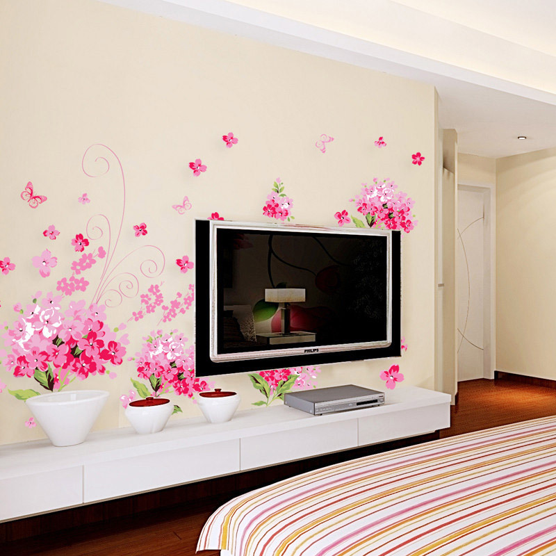 New Products Large Romantic Pink Sakura Wall Stickers