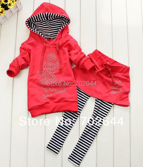 Retai 2015 ~New  girls Mickey hoodies+striped skirt pants leggings 2pcs clothing sets minnie kids cartoon suits,in stock ,1set