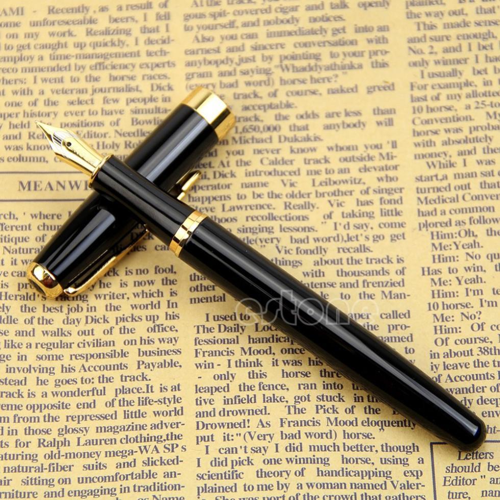 Гаджет  U118 - BAOER 388 Black Metal Fountain Pen Nib Medium Gold Trim Arrow Clip None Офисные и Школьные принадлежности