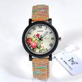 Fashion Wood Flower Pattern Ladies Watch Women Casual PU Band Sport Quartz Watch Diverse Dial Dress