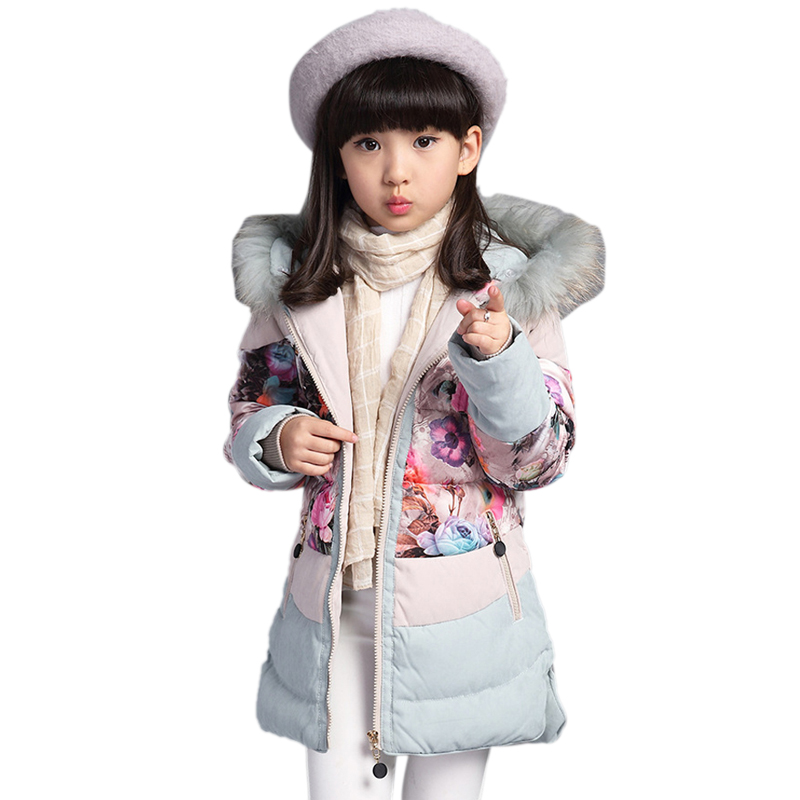 2015 New Winter Girls Korean Flower Pattern Baby Fleece Jackets Kids Hooded Fur Collar Coat Long Jacket GA-54W006 - Xray Star store