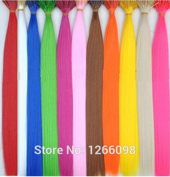 240pcs top quality synthetic bundle hairpicec 12 colors available non-trace Solid color hair extensions With free Beads and Hook