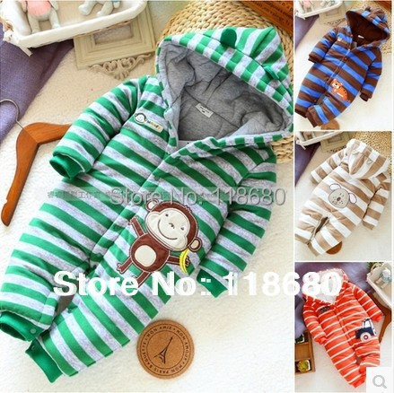 new 2014 autumn winter baby romper baby products newborn striped cotton rompers baby boy overall children outerwear baby wear(China (Mainland))