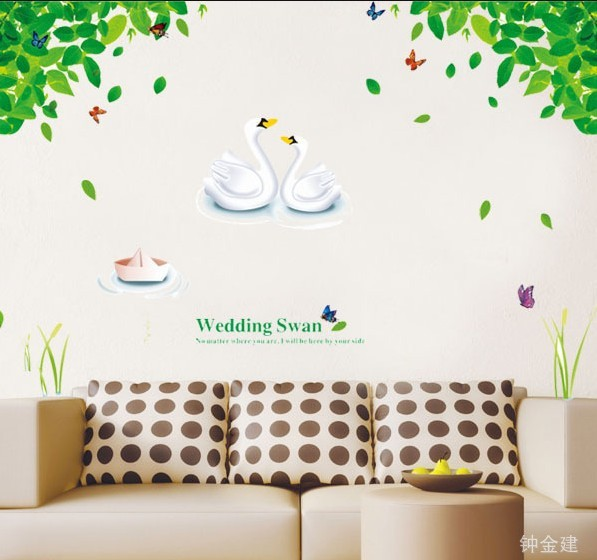 AY880 Cute Wedding Swan Tree Home Decor Wall Stickers Bathroom Decoration Mir