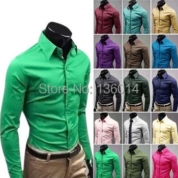 MLSAD slim fit design casual men long sleeve shirts candy color Blouses dress shirt camisa masculina PLUS SIZE M-4XL MCL108 - HUHA store