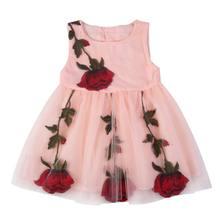 New Summer Chất Lượng Cao Trẻ Sơ Sinh Bé Gái Thêu Rose Dress Trẻ Em Trẻ Em Không Tay O-Cổ Vest Váy Dễ Thương Bé Quần Áo(China)