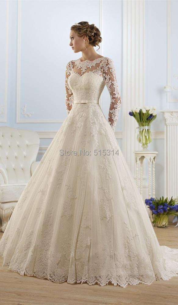 Vestidos de noiva манга лонга vintage романтический свадебное платье с длинным рукавом кружева свадебное платье невесты платья 2016 AQ34