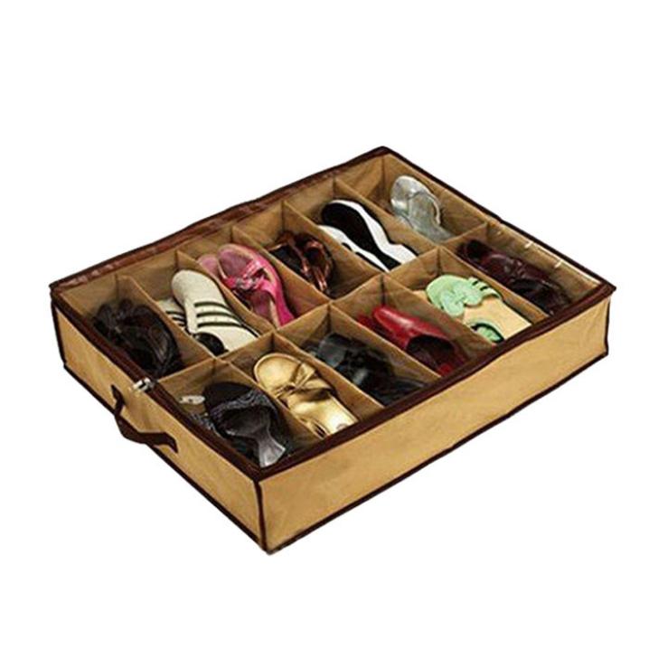 Essential New 12 Transparent Admission Shoes Bag Folding Storage Box 72*61*15cm Fabric Folding Big storage boxs Home Traver(China (Mainland))