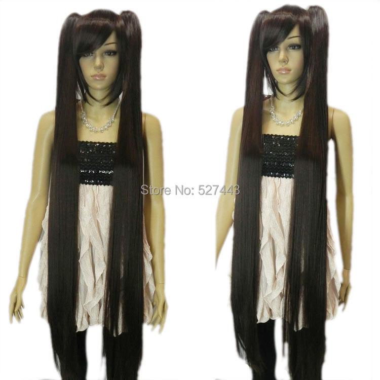 >>>lolita straight black brown two ponytail Hatsune Miku lady cosplay full hair wig - sulan gu's store