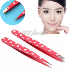 2016 2 Pcs New Lovely Women Stainless Steel Slant Tip Leopard Dots Hair Removal Eyebrow Tweezer Beauty Makeup Tool(China (Mainland))